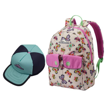 High Sierra Chiqui Backpack (Butterflies) and Fun Lunch Kit (Sky Blue/Iced Lilac)
