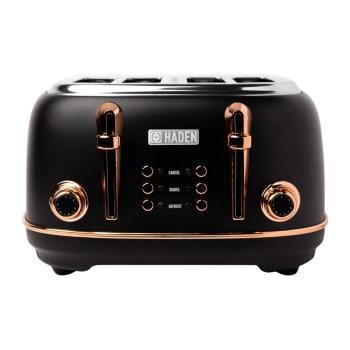 Haden Heritage 4-Slice Wide Slot Toaster - Black & Copper