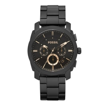 Fossil Machine Mid-Size Chronograph Black Stainless Steel Watch