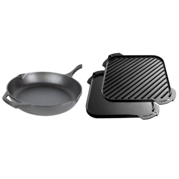 Lodge Chef Collection 12'' Cast Iron Skillet and 10.5'' Reversible Grill/Griddle Set