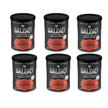 Balzac's Coffee Roasters Fair Trade Organic Espresso Ground Coffee – 300g/10oz – Set of 6
