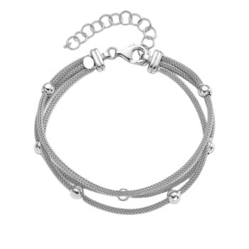 Karing Sterling SIlver Beaded Mesh Bracelet with Extender