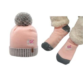 Pudus Breast Cancer Pink Slipper Socks and Toque Hat Bundle