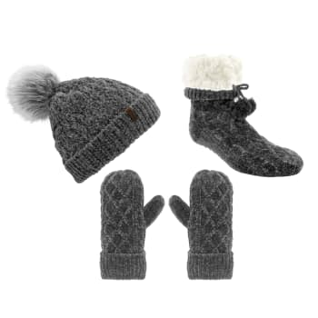 Pudus Chenille Winter Hat, Mittens and Slipper Socks Bundle – Grey