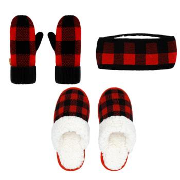 Pudus Winter Mittens, Headband and Slide Slippers Bundle – Lumberjack Red