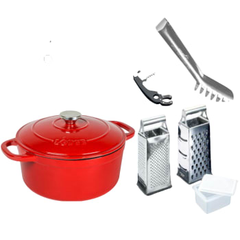 Lodge Enameled Cast Iron 5.5-Quart Red Dutch Oven with Metaltex Accessories