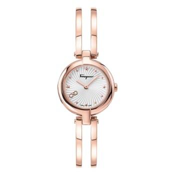 Salvatore Ferragamo Miniature Ladies Rose Gold Bangle Bracelet Watch