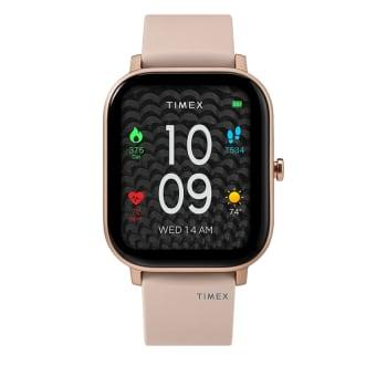 Timex Metropolitan S Ladies 36mm Silicone Strap Watch – Rose Gold Tone/Pink