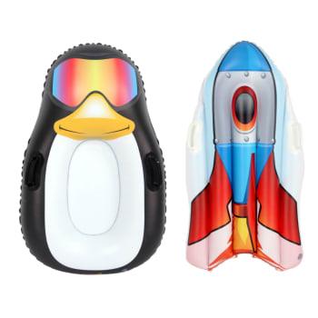 Incredible Novelties Penguin and Rocket Snow Sleds Bundle