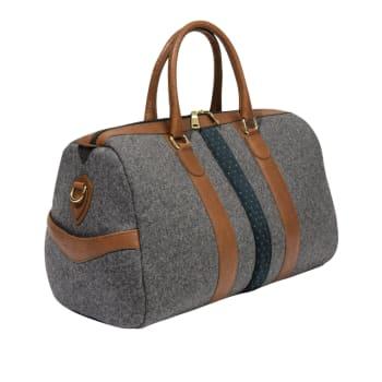 Monte & Coe Wool Weekender Bag - Mid-Grey and Cognac