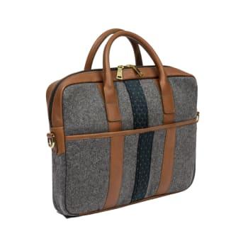 Monte & Coe Wool Brief Case – Mid-Grey and Cognac