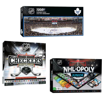 Masterpieces NHL-Opoly Jr., NHL Checkers and Toronto Maple Leafs 1000-Piece Stadium Puzzle Bundle