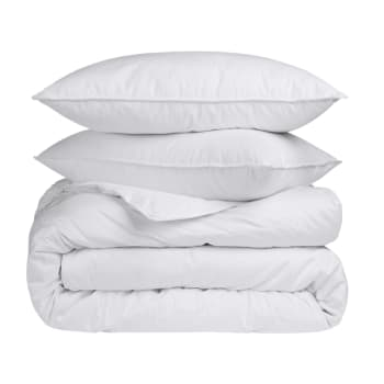 Twin Ducks Sea Breeze White Duck Down and Feather Duvet and Pillows - Queen