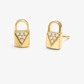 Michael Kors Precious Metal-Plated Sterling Silver Pavé Lock Studs - Gold