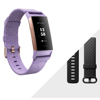 Fitbit Charge 3 Special Edition Fitness Tracker with Heart Rate Monitor- Lavender Woven/Rose Gold