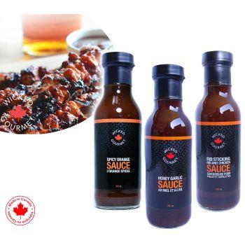 Wicked Gourmet 3 Signature Sauces - Spicy Orange, Rib Sticking Rib & Chicken, Honey Garlic