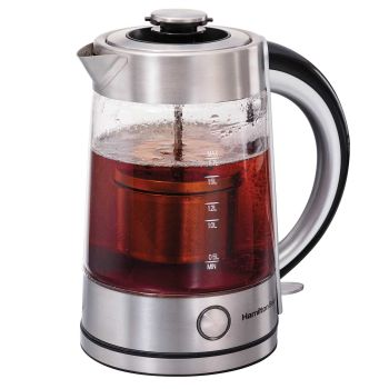 Hamilton Beach® 1.7 Liter Electric Glass Kettle with Tea Steeper