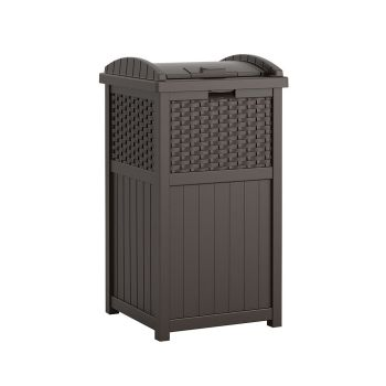 Suncast Resin Wicker Hideaway Trash Receptacle