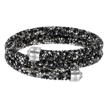 Swarovski Crystaldust Stainless Steel Double Bangle - Medium - Dark Crystals