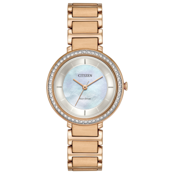 Citizen Silhouette Crystal White Mother of Pearl Dial Ladies Watch