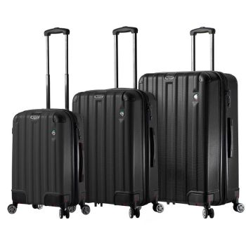 Mia Toro Ruota Hardside 3-Piece Spinner Set with Retractable Wheels - Black