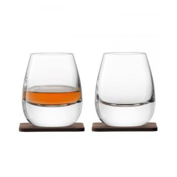 LSA International Whisky Islay Tumbler & Walnut Coaster - Set of 2