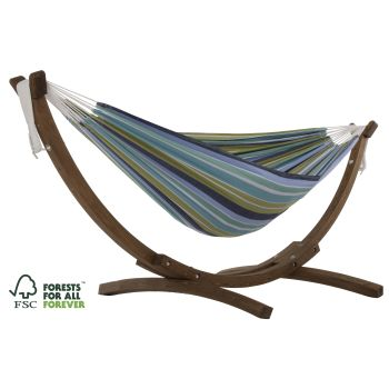 Vivere™ Double Cotton Hammock with Solid Pine Stand - Cayo Reef