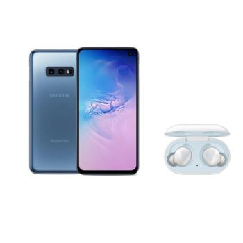 Samsung Galaxy S10e - 128 GB – Prism Blue with Samsung Galaxy Buds - White Bundle