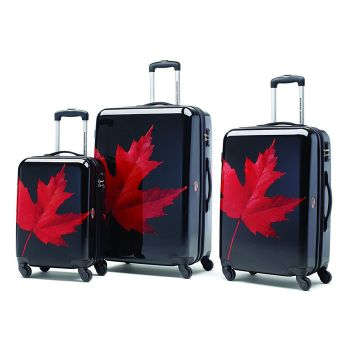 Canadian Tourister Collection 3 Piece Set - Maple Leaf Red/Black