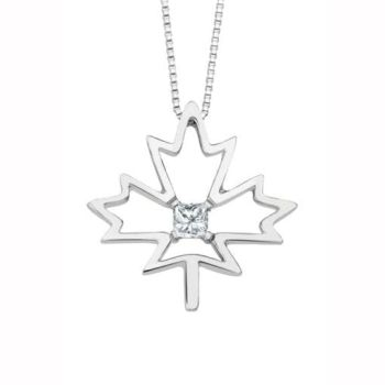 Cheri J'adore Canadian Diamond Solitaire Maple Leaf Pendant in Sterling Silver (0.08 CT.)