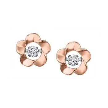 Cheri J'adore Canadian Diamond Solitaire Flower Earrings in 10K Rose Gold (0.08 CT.)
