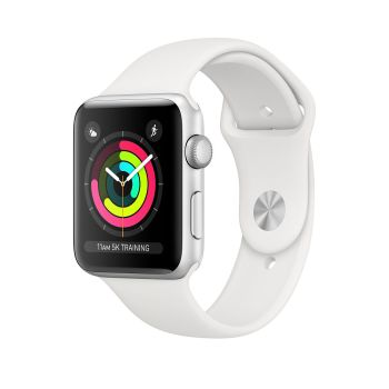 AppleWatch Series3 Silver Aluminium Case with White Sport Band - 38mm - GPS