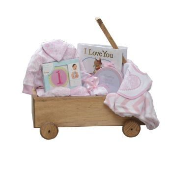 Peter & Paul's Gifts Baby Girl Wooden Wagon Gift Set