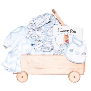 Peter & Paul's Gifts Baby Boy Wooden Wagon Gift Set