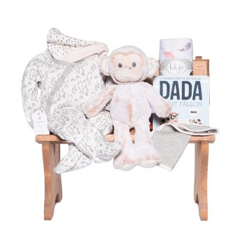 Peter & Paul's Gifts Baby Girl Wooden Bench Gift Set