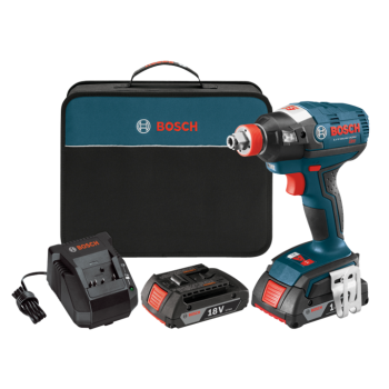 Bosch FREAK 18V EC Brushless 1/4 In. and 1/2 In. Two-In-One Bit/Socket Impact Driver Kit and 18V Lithium-Ion 2.0 Ah SlimPack Battery