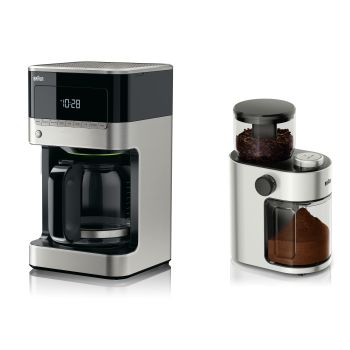 Braun BrewSense Drip Coffee Maker and Braun Electric Conical Burr Coffee Grinder Combo