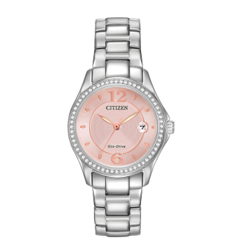 Citizen Ladies Eco-Drive Silhouette Crystal Pink Dial Silver Watch