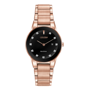 Citizen Ladies Eco-Drive Axiom Pink Gold Diamond Accent Date Watch