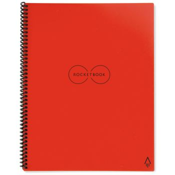 Rocketbook Everlast Notebook with Pilot Frixion Pen and Wiping Cloth - Atomic Red