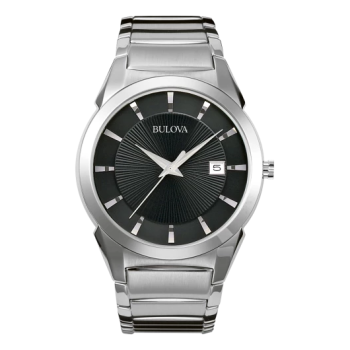 Bulova Men's Stainless Steel Black Dial Water Resistant Classic Watch