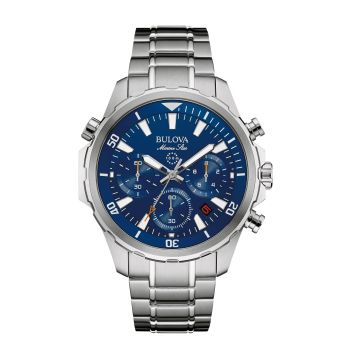 Bulova Men's Stainless Steel Chronograph Blue Dial Marine Star Watch