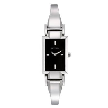 Bulova Women's Stainless Steel Black Dial Tank Quartz Crystal Watch