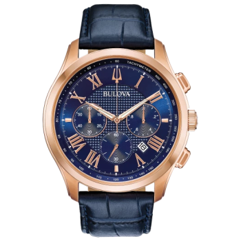 Bulova Men's Rose Gold Blue Dial Blue Leather Strap Classic Watch