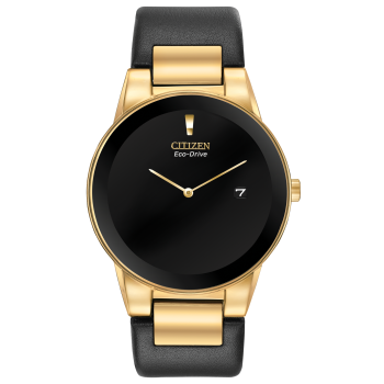 Citizen Axiom Men's Gold Tone Case and Black Leather Strap Watch