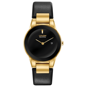 Citizen Axiom Ladies Gold Tone Case and Black Leather Strap Watch
