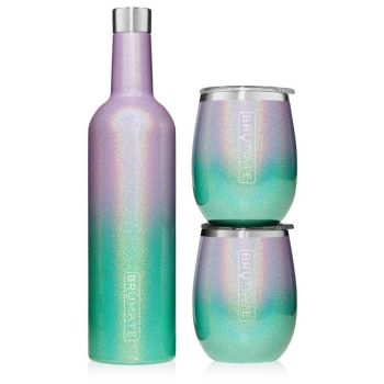 BruMate Winesulator + 2 Uncork'd XL Wine Tumblers/Lids - Glitter Mermaid