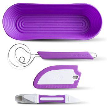 Breadsmart Bread Making Tool Kit with Bonus Recipe Book - Purple