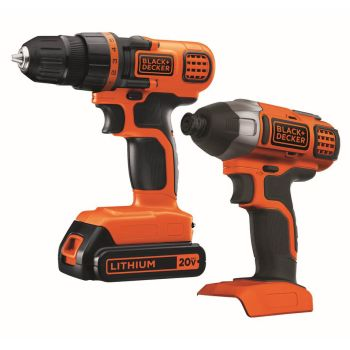Black + Decker 20V MAX Lithium Ion Drill/Driver + Impact Combo Kit