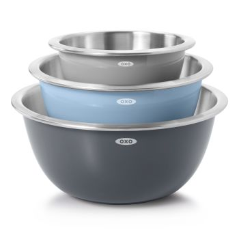OXO Good Grips 3-Piece Stainless Steel Mixing Bowl Set